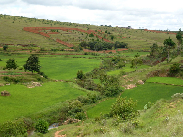 Rivière Andranovato et les murs de terre tamboho